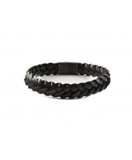 Bracelet Cuir noir tressé...