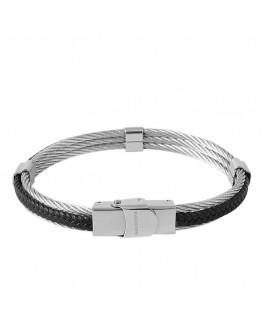 Bracelet Cable Acier - Cuir...